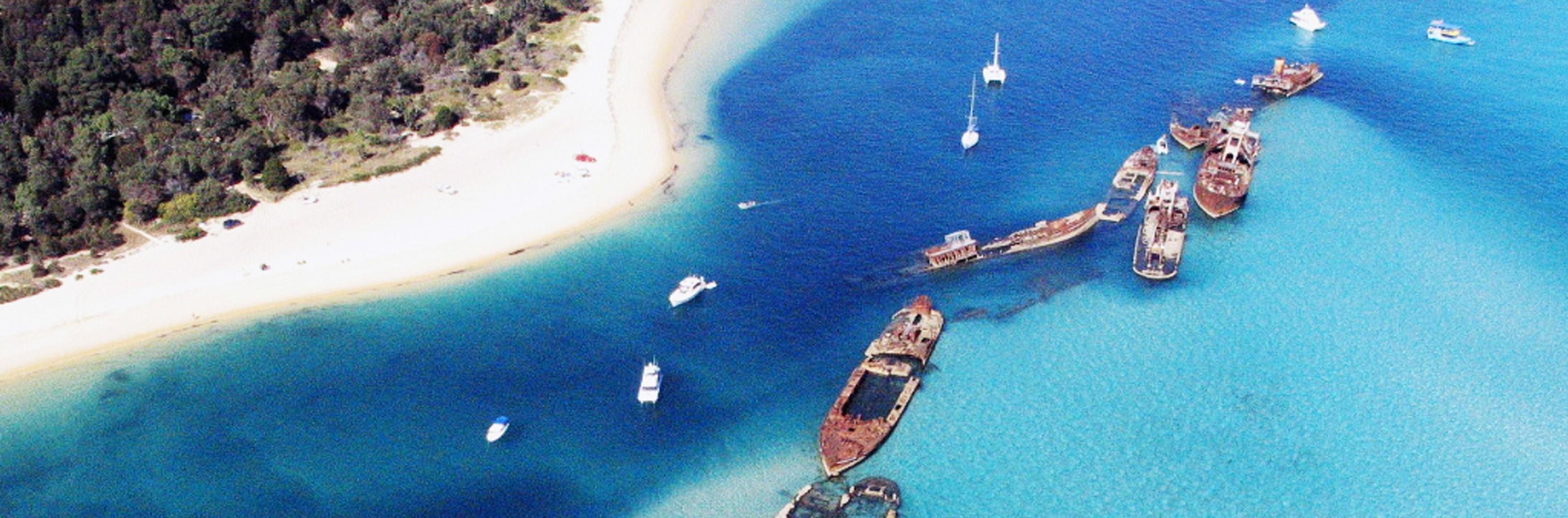 Wrecks Ariel Photo of Tangalooma Island